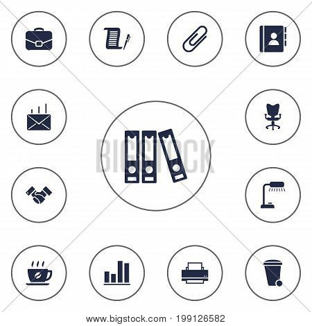 Collection Of File Folder, Trash Can, Address Book And Other Elements.  Set Of 13 Work Icons Set.