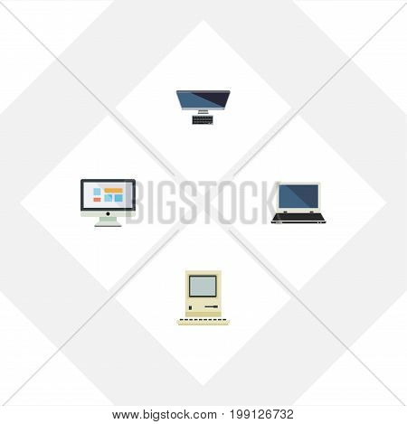 Flat Icon Laptop Set Of PC, Notebook, Computing And Other Vector Objects