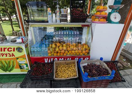 KONAKLI TURKEY - JULY 10 2015: Sales of fresh fruit. Anatolian cost - a popular holiday destination for European tourists.