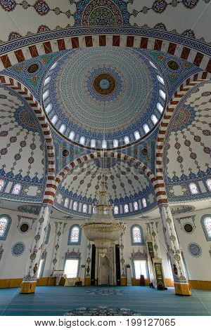 KONAKLI TURKEY - JULY 10 2015: The interior of the mosque in Konakli. Anatolian coast - a popular holiday destination for European tourists.