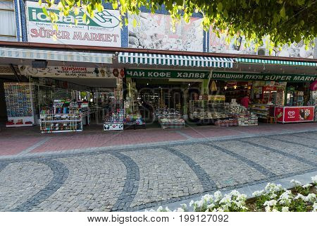 KONAKLI TURKEY - JULY 10 2015: Sales of souvenirs in the village on the Anatolian coast near the town of Alanya.