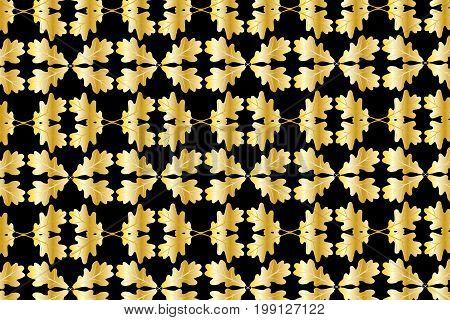 Oak leaf on black background - vector pattern , Golden oak leaf