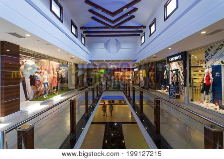 KONAKLI TURKEY - JULY 10 2015: Interior of a large and popular among tourists shopping center on the Anatolian coast near the town of Alanya.