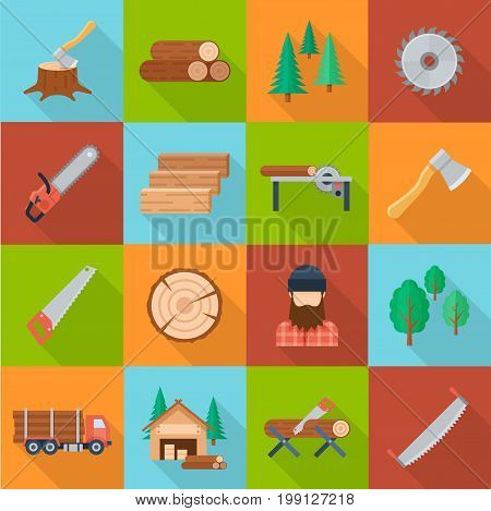 Timber industry set. Offering quality wood products and lumber, beams and planks materials supply. Vector flat style illustration isolated on green, blue, orange, brown background