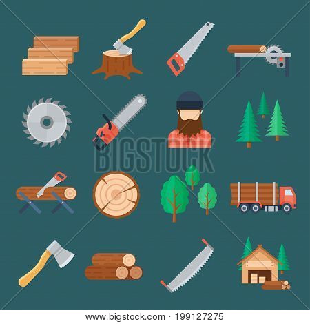 Woodcutter icon set. Producing timber, chop down trees with an axe, turning into wood logs. Vector flat style cartoon illustration, isolated, dark background