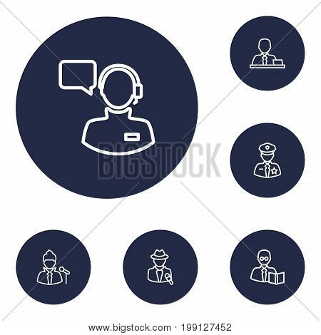 Collection Of Operator, Policeman, Singer And Other Elements.  Set Of 6 Job Outline Icons Set.