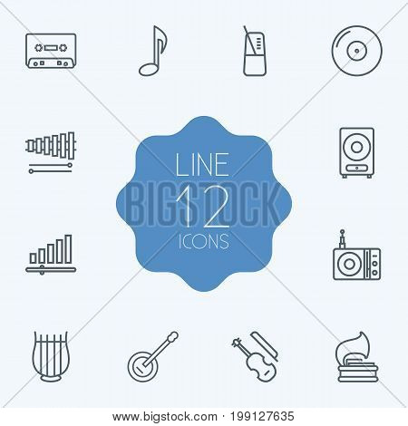 Collection Of Fiddle, Stringed, Wooden Block And Other Elements.  Set Of 12 Melody Outline Icons Set.