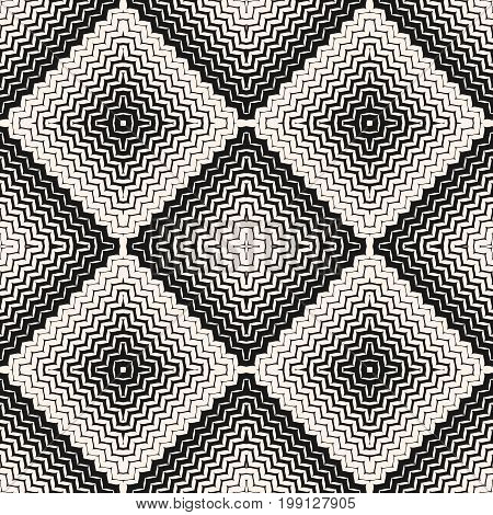 Vector halftone seamless pattern. Diagonal zigzag lines in square form. Abstract monochrome geometric background, texture with gradient transition effect. Wavy zig zag stripes. Design for decor, fabric.
