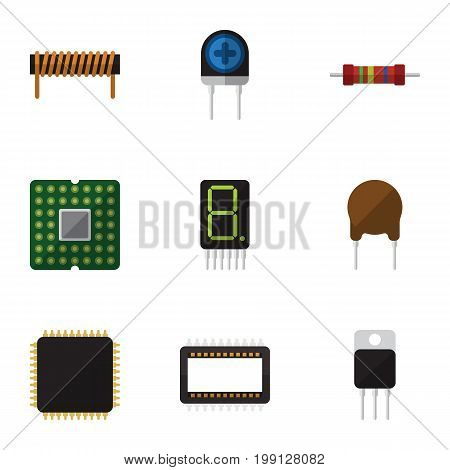 Flat Icon Electronics Set Of Mainframe, Resistance, Display And Other Vector Objects