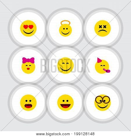 Flat Icon Face Set Of Angel, Caress, Smile And Other Vector Objects