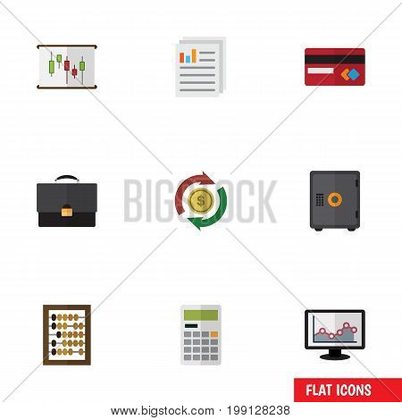 Flat Icon Finance Set Of Document, Diagram, Payment And Other Vector Objects