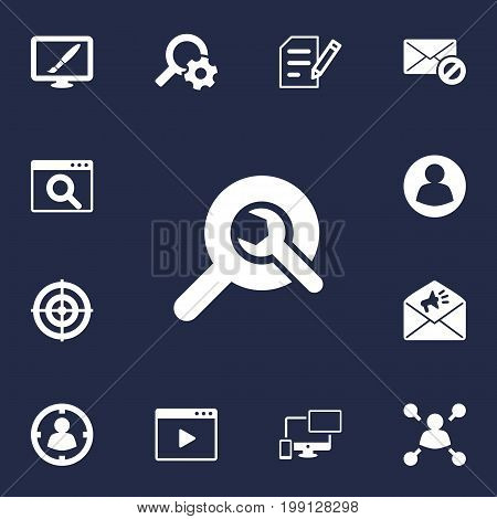 Collection Of Movie, Announcement, Search And Other Elements.  Set Of 13 Search Icons Set.