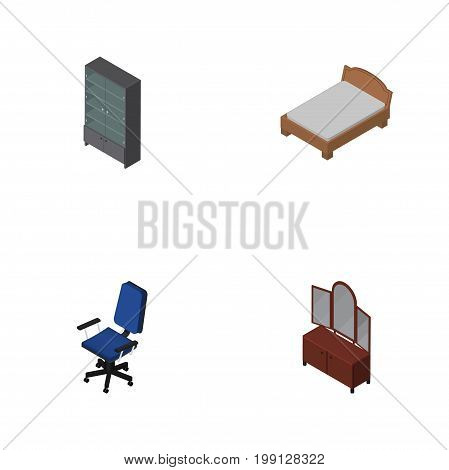 Isometric Design Set Of Bedstead, Drawer, Office And Other Vector Objects