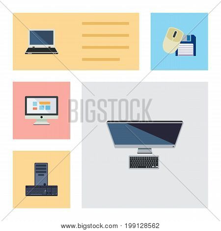Flat Icon Laptop Set Of Processor, Notebook, PC And Other Vector Objects