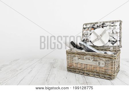 picnic basket and table place on whte background picnic table