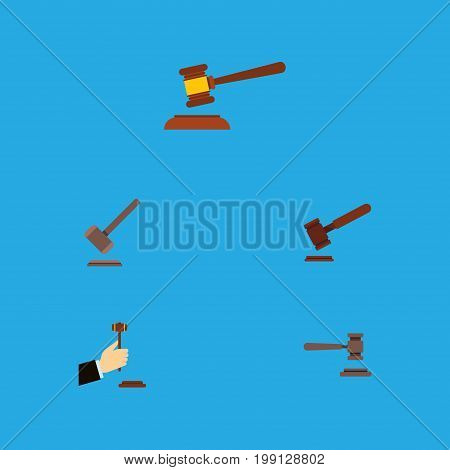 Flat Icon Lawyer Set Of Hammer, Tribunal, Justice And Other Vector Objects
