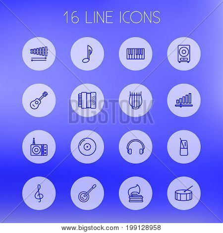 Collection Of Vinyl, Loudspeaker, Harmonica And Other Elements.  Set Of 16 Music Outline Icons Set.