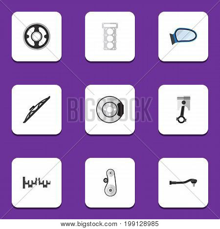 Flat Icon Auto Set Of Cambelt, Windshield, Steels Shafts And Other Vector Objects