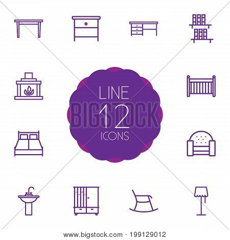 Collection Of Hall Tree, Desk, Crib And Other Elements.  Set Of 12 Decor Outline Icons Set.