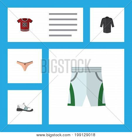 Flat Icon Dress Set Of T-Shirt, Lingerie, Trunks Cloth And Other Vector Objects