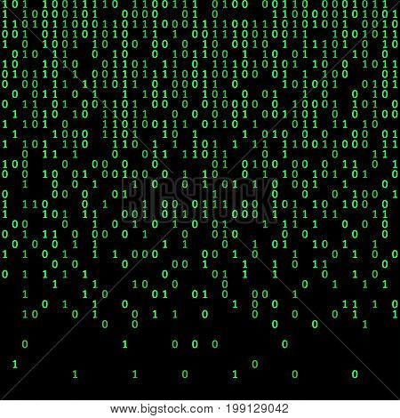Binary code green and dark background, digits on screen. Algorithm binary, data code, decryption and encoding, row matrix, vector illustration
