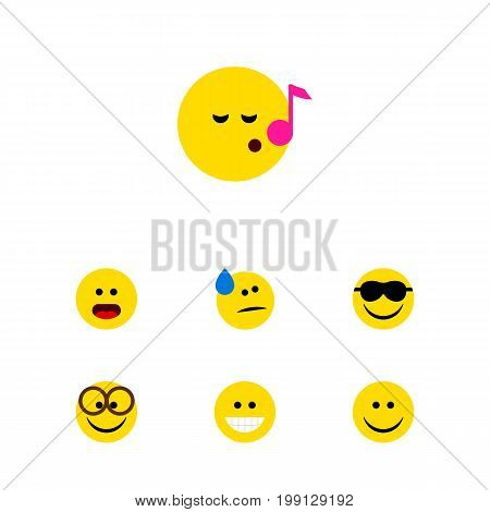 Flat Icon Gesture Set Of Descant, Pleasant, Grin And Other Vector Objects