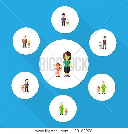 Flat Icon Family Set Of Grandchild, Boys, Grandma Vector Objects