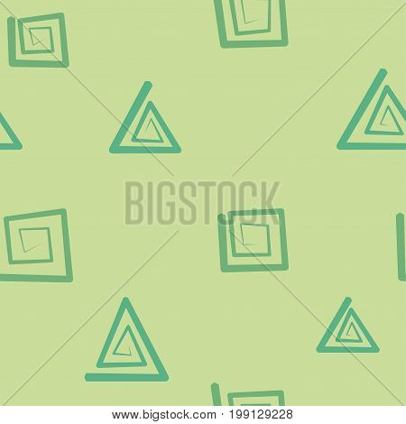 Seamless light green pattern with square and triangle helixes