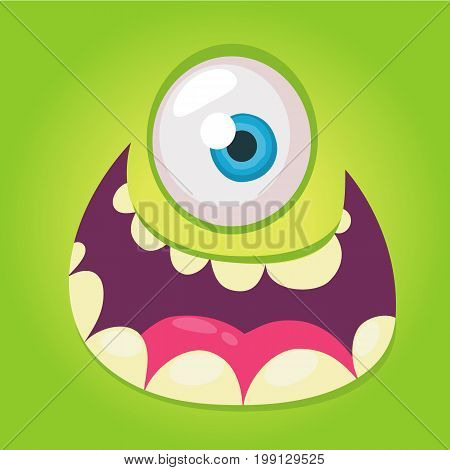 Cartoon monster face. Vector Halloween green cool monster avatar with wide smile. Big set of monster faces