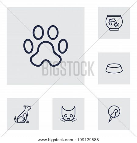 Collection Of Head, Bowl, Parrot And Other Elements.  Set Of 6 Animals Outline Icons Set.
