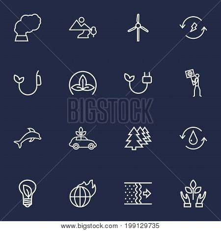 Collection Of Water, Ecologist, Electricity And Other Elements.  Set Of 16 Atmosphere Outline Icons Set.