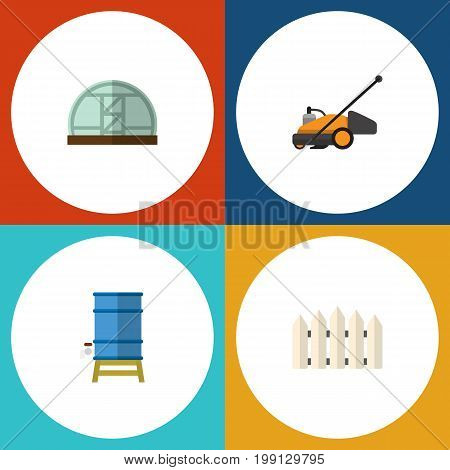 Flat Icon Dacha Set Of Container, Wooden Barrier, Hothouse And Other Vector Objects