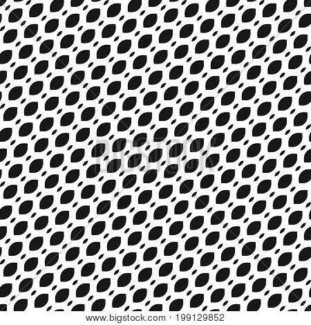 Mesh diagonal pattern, simple monochrome black and white geometric texture, illustration of diagonal mesh, lattice, tissue structure. Abstract repeat background. Design for prints, textile, fabric.