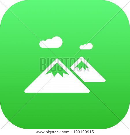 Vector Pinnacle Element In Trendy Style.  Isolated Mountain Icon Symbol On Clean Background.
