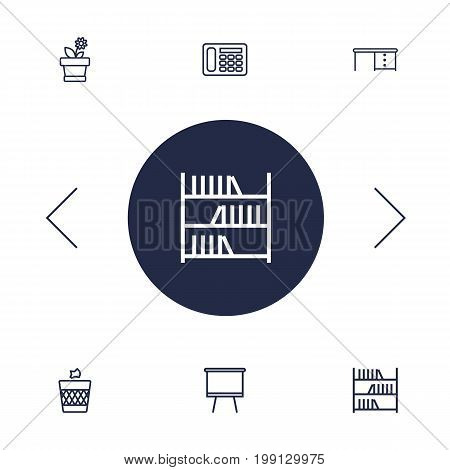 Collection Of Telephone, Desk, Wastebasket And Other Elements.  Set Of 6 Bureau Outline Icons Set.