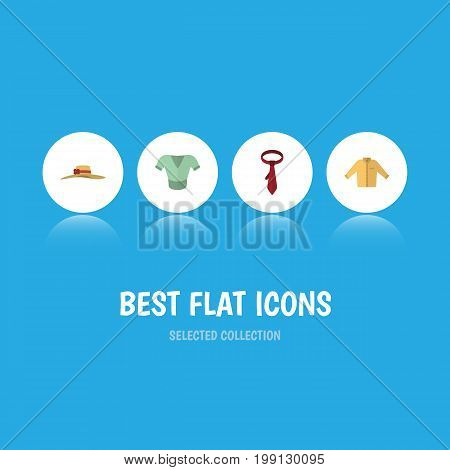 Flat Icon Garment Set Of Elegant Headgear, Cravat, Casual And Other Vector Objects