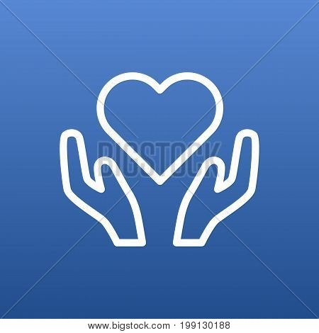 Isolated Heart In Hand Outline Symbol On Clean Background