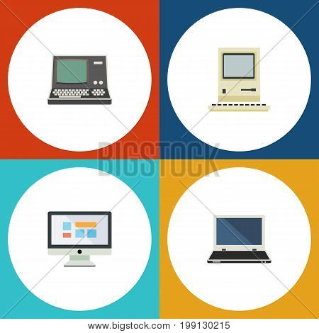 Flat Icon Computer Set Of Technology, Computing, Display And Other Vector Objects