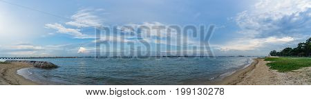 Panorama View Of The Sea From East Coast Park, Singapore