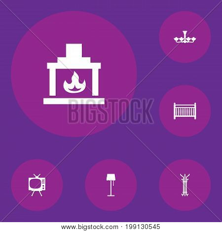 Collection Of Chimney, Illuminator, Television And Other Elements.  Set Of 6 Decor Icons Set.