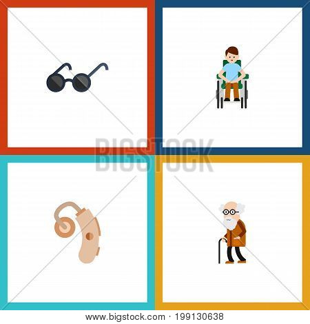 Flat Icon Disabled Set Of Disabled Person, Ancestor, Spectacles And Other Vector Objects