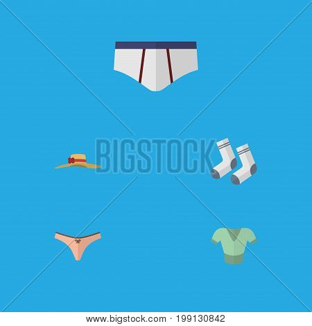 Flat Icon Clothes Set Of Foot Textile, Underclothes, Elegant Headgear And Other Vector Objects