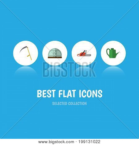Flat Icon Farm Set Of Hothouse, Bailer, Hacksaw And Other Vector Objects