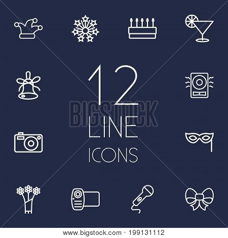 Collection Of Stars, Jester, Amplifier And Other Elements.  Set Of 12 Cheerful Outline Icons Set.