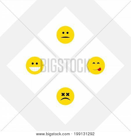 Flat Icon Face Set Of Displeased, Delicious Food, Cross-Eyed Face And Other Vector Objects