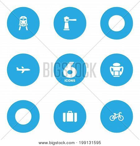 Collection Of Suitcase, Bike, Seamark And Other Elements.  Set Of 6 Travel Icons Set.