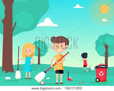 Children are sweeping and cleaning the playground. Cute kids volunteers. A vector illustration of kids volunteering by cleaning up the park