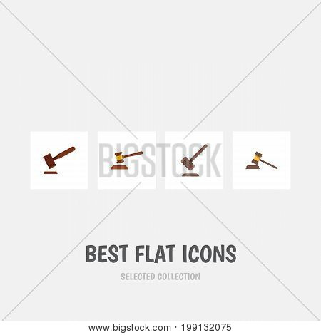 Flat Icon Hammer Set Of Tribunal, Justice, Hammer And Other Vector Objects
