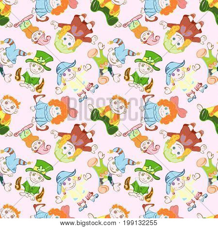 Seamless vector pattern of children's dolls in costumes