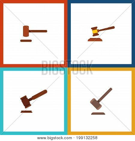 Flat Icon Hammer Set Of Justice, Tribunal, Defense And Other Vector Objects